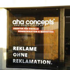 Raithel Werbetechnik und Textildruck - aha-concepts - Schaufensterbeklebung