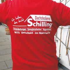 Raithel Werbetechnik und Textildruck - Dachdeckerei Schilling - Textildruck