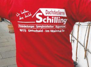 Textildruck | Dachdeckerei Schilling | Unterhaid