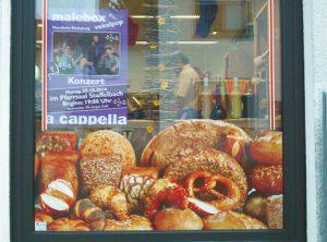 Schaufensterbeschriftung | Bäckerei Düsel | Staffelbach | Stettfeld | Oberhaid