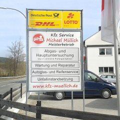 Raithel Werbetechnik und Textildruck - KFZ Service Müllich - Beschilderung - Schilderbeschriftung
