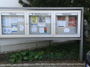 Schaukastenbeschriftung | Pfarrei St. Bartholomäus | Oberhaid
