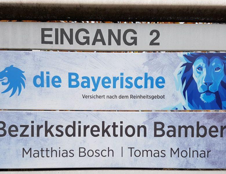 Raithel Werbetechnik und Textildruck - Die Bayerische Versicherung - Aluschilder mit Digitaldruck