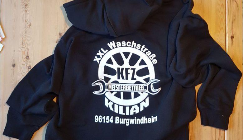 Raithel Werbetechnik und Textildruck - Textildruck - KFZ Kilian - Hoodie-Jacken
