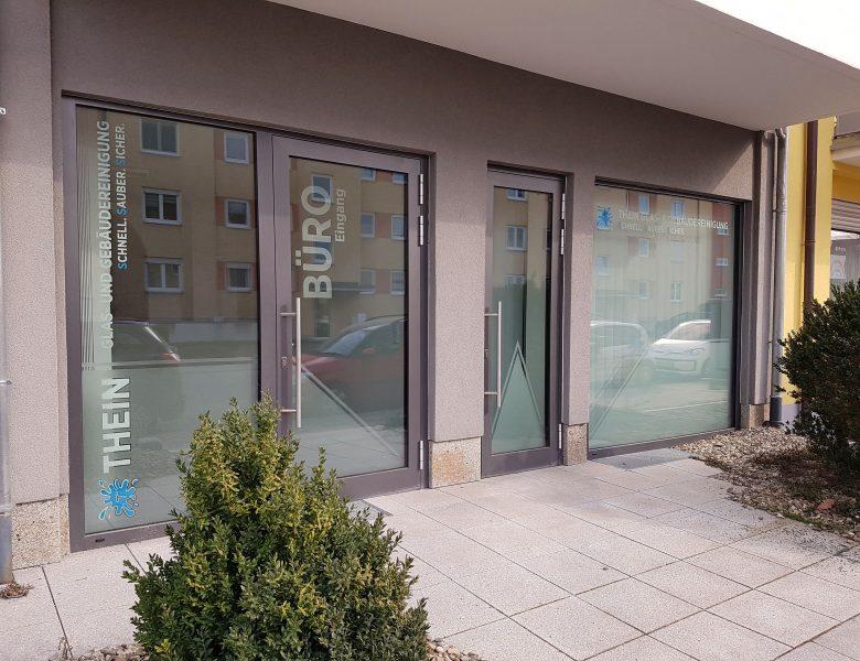 Raithel Werbetechnik und Textildruck - Thein Glas- u. Gebäudereinigung - Bamberg - Schaufensterbeschriftung