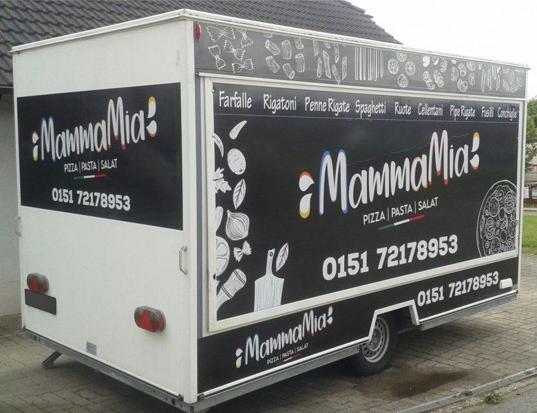 Raithel Werbetechnik und Textildruck - Mamma Mia Pizza Stand - Bamberg - Pizzawagenbeschriftung