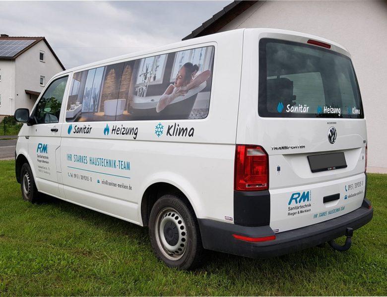 Raithel Werbetechnik und Textildruck - Fahrzeugbeschriftung - Sanitärtechnik Rieger & Merklein - Bamberg