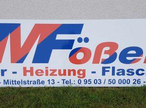 Schild   MFößel Sanitär – Heizung – Flaschnerei GmbH & Co. KG   Viereth